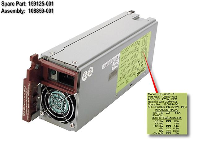 HPE Part 159125-001 275W hot-plug AC power supply - With power factor correction (PFC) - Requires 90-132VAC or 180-265VAC, 50-60Hz input power