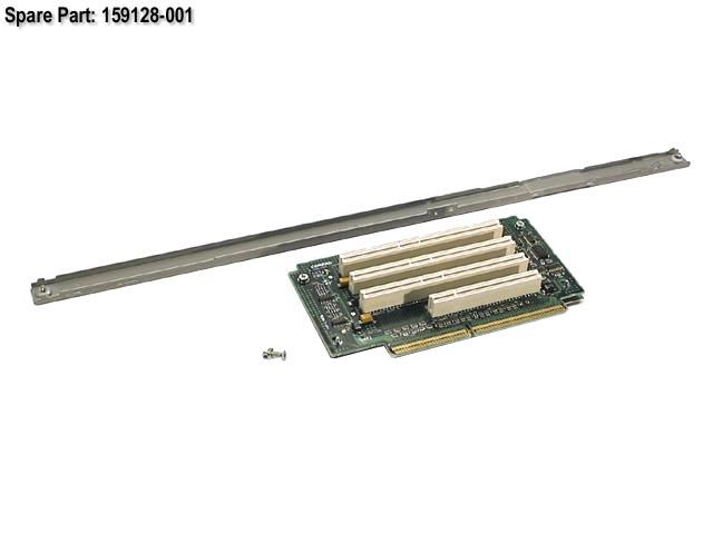 HPE Part 159128-001 Riser board and brace assembly - Includes the PCI riser board with three 64-bit/33MHz 5V slots and one 32-bit/33MHz 5V slot, and 'U' channel brace