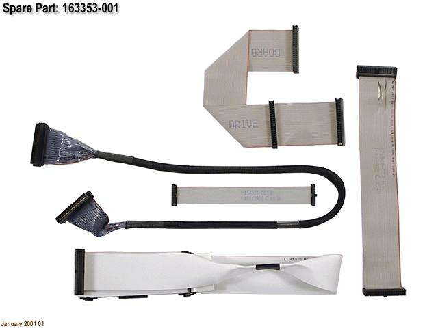 HPE Part 163353-001 Signal cable kit - Includes PATA (IDE) ribbon (40-position) cable, floppy drive ribbon cable, and two device removable media SCSI ribbon cable