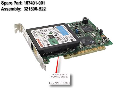 HPE Part 167491-001 PCI modem card - 56Kbps data/fax, V.90