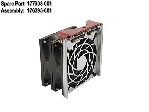 HPE Part 177903-001 Hot-plug fan assembly - 92mm X 25.4mm (3.62 x 1.0 inches) - Includes the double fans, hot-plug fan bracket, and status LED - For fan assembly 5/6