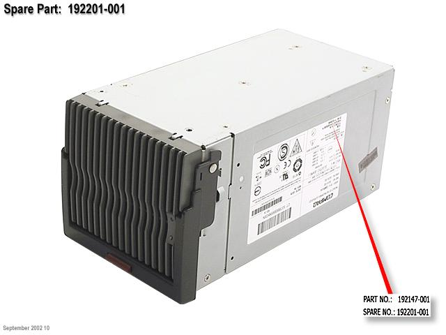 HPE Part 192201-001 800W hot-plug AC power supply - With power factor correction (PFC) - Requires 90-264VAC, 47-63Hz input power