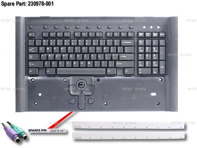 HPE Part 230978-001 Keyboard assembly (Carbon Black) - Includes programmable hot keys, trackball assembly, and interface cable assembly