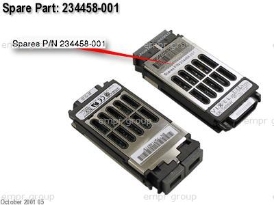 HPE Part 234458-001 1Gbps short wave Gigabit Interface Converter (GBIC) transceiver module - 500m (1640ft) limit - Has SC connectors - (234459-B21, part of 254516-B21, part of 254517-B21)