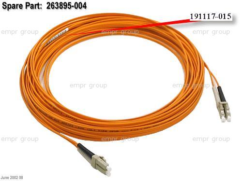 HPE Part 263895-004 Fiber-optic short wave multimode interface cable - 50um core, 125um cladding - LC connectors - 15m (49ft) long - Used with cluster with MSA 1000