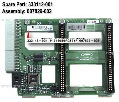 HPE Part 333112-001 Power supply backplane board assembly - Has slots for the dual hot-plug power supplies - Mounts on the rear of the power supply bay