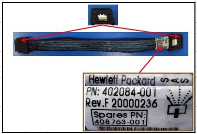 HPE Part 408763-001 DL36X Mini Serial Attached SCSI (SAS) cable - Used to connect Smart Array P400i to DL36X fifth and sixth drive bays - 0.35m (13.4 in) long, four lanes