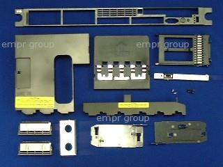 HPE Part 412208-001 Plastics kit - Includes drive ejector, front bezel, device blank, expansion slot covers, T-10 and flathead 1/4-inch screws, power supply and processor air baffles, SA E200i and SA P400i controller battery trays, hard drive and power supply bezel blanks