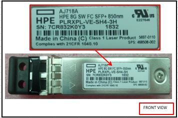 HPE Part 468508-002 8Gb short wave Fiber Channel (FC) Small Form Factor (SFF) transceiver -  When used in 3PAR compatible with 7000 series only