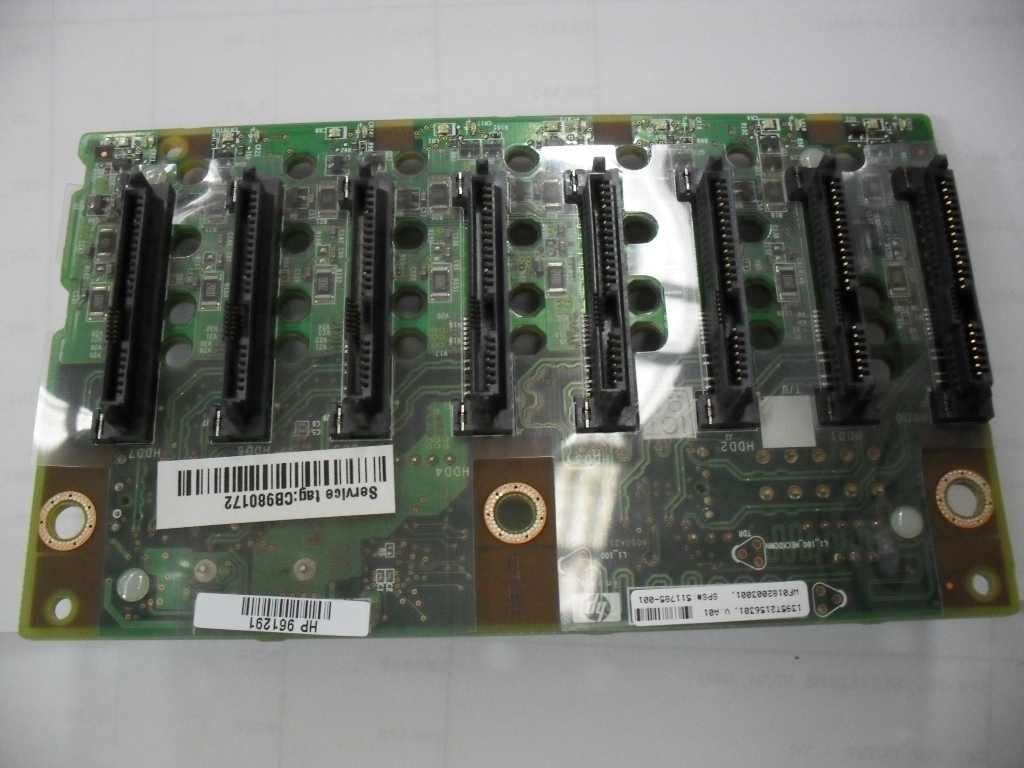 HPE Part 511785-001 8-bay SAS/SATA small form factor (SFF) hard drive backplane board - Mounts on the rear of the standard 8-bay SFF hard drive cage