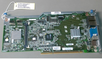 HPE Part 591199-001 System Peripheral Interface (SPI) board - Includes the rear panel NC375i NIC (4x), iLO3, USB, serial port, VGA, keyboard and mouse connectors, plus internal mini-SAS connectors, SD card slot, and the system RTC battery