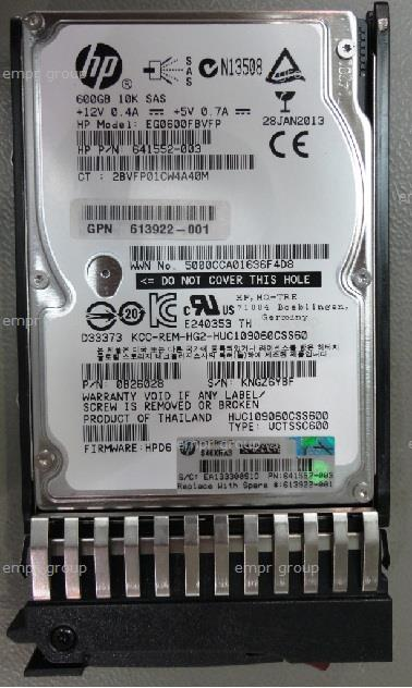 HPE Part 613922-001 600GB SAS hard drive - 10,000 RPM, 2.5-inch small form factor (SFF), 6Gb/s SAS interface - For use with EVA M6625 disk enclosure. Option equivalent: AW611A