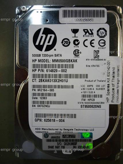 HPE Part 632142-001 500GB SATA hard disk drive - 7,200 RPM, 6Gb/sec transfer rate, 2.5-inch small form factor (SFF) - Quick Release (QR), Midline - Standard drive