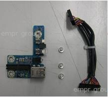 HPE Part 725267-001 Front I/O module board assembly - Includes the front I/O board with USB connectors, status LEDs, and power button, plus the interconnection cable to the system I/O board
