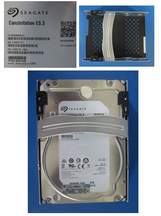 HPE Part 801811-001 2TB SATA hard drive - 7,200 RPM, 3.5-inch large form factor (LFF), 6Gb/s interface, Quick Release Carrier (QR)