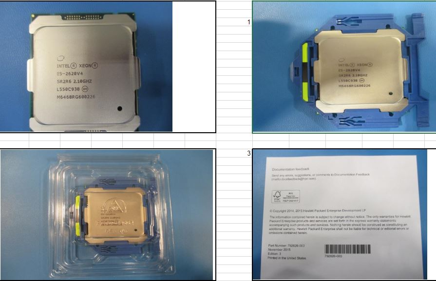 HPE Part 835601-001 Intel Xeon E5-2620 v4 Eight-Core 64-bit processor - 2.1GHz base frequency (Broadwell, 20MB Intel Smart Cache, Intel QuickPath Interconnect (QPI) speed 8.0 GT/s, 85W Thermal Design Power (TDP), FCLGA 2011-3 socket)