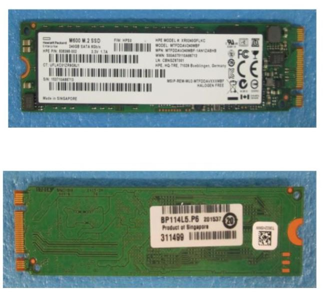 HPE Part 839630-001 240GB Solid State Drive (SSD) - SATA interface, M.2 form factor (2280), 6Gb/sec transfer rate