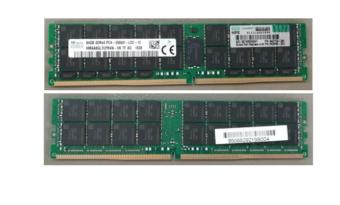 HPE Part 850882-001 64GB PC4-2666V-R, registered synchronous dynamic random access memory (SDRAM) 2Gx4, operated in a dual data rate (DDR4) mode, packaged in a dual in-line memory module (DIMM) organized as 8Gx72. <br/><b>Option equivalent: 815101-B21</b>