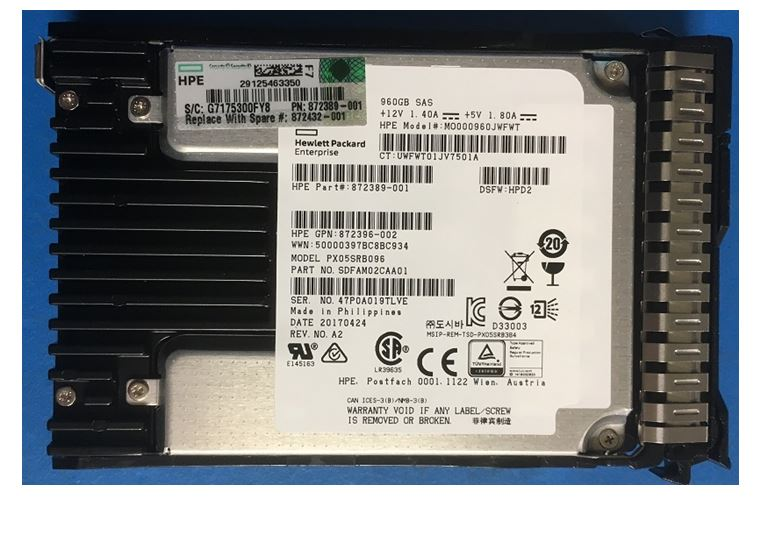 HPE Part 872432-001 HPE 960GB SAS 12G Read Intensive SFF (2.5in) SC DS SSD. <br/><b>Option equivalent: 872390-B21</b>