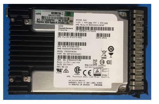 HPE Part 872506-001 800GB Solid State Drive (SSD) - SAS interface, 12Gb/s interface, 2.5-inch small form factor (SFF), mixed use (MU), smart carrier (SC), digitally signed firmware. <br/><b>Option equivalent: 872376-B21</b>