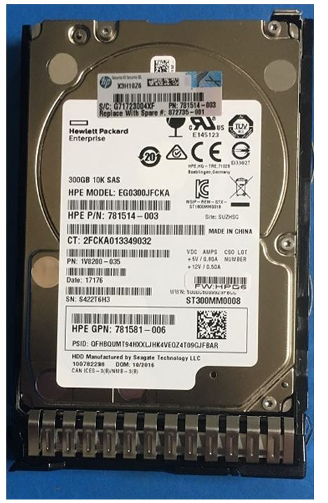 HPE Part 872735-001 HPE 300GB SAS 12G Enterprise 10K SFF (2.5in) SC DS HDD. <br/><b>Option equivalent: 872475-B21</b>