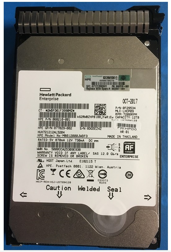 HPE Part 882397-001 12TB SAS Hard drive  - 7,200RPM, 6Gb/s interface, Helium 512e format, 3.5in large form factor (LFF),smart carrier (SC), digitally signed firmware (DS). <br/><b>Option equivalent: 881779-B21</b>