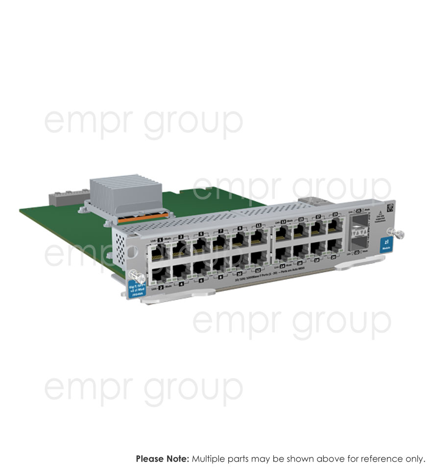 HPE Part J9548-61101 ProCurve switch zl 20P Gig-T / 2P SFP+ v2 module -  Includes 20 RJ45 10/100/1000BASE-T autosensing ports and two 10-GbE Small Form-factor Pluggable Plus (SFP+) ports -  PoE is NOT supported on this module