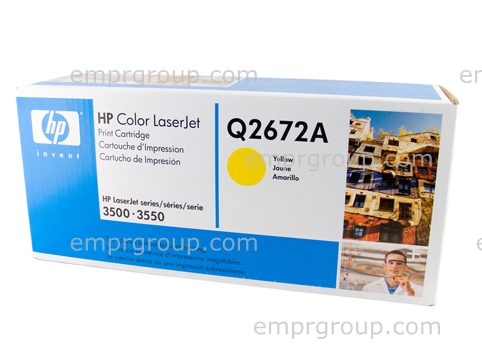 HP Part Q2672A HP Color LaserJet smart Yellow print cartridge - Contains toner, developer and imaging drum - Will print approximately 4,000 pages based on a 5% print density